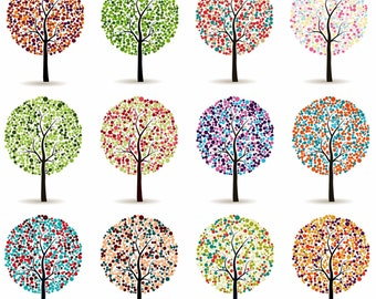 Tree Clipart, Family Tree Clip art, Wedding Tree Graphic, Colorfull Leaf Tree, Digital Tree, Tree Image, Instant Download