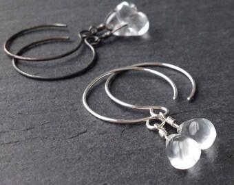 Clear Quartz Sterling Silver Earrings Drop Dangle Clear Stone Teardrop Small Genuine Quartz Gemstone Shiny Silver/Oxidized Silver Gift Wrap