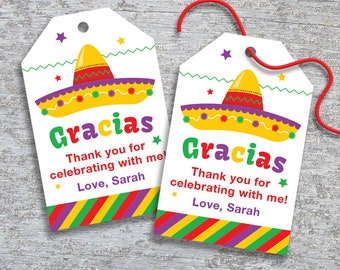 Personalized Fiesta Party Favor Tags – DIY Printable – Hang Tags – Thank You (Digital File)