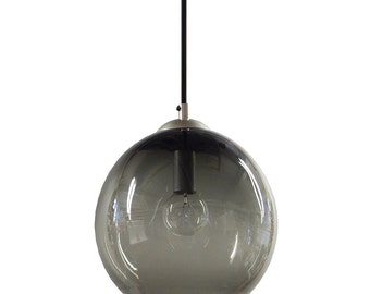 Smoky Gray Gumball Hanging Art Glass Pendant Diffuser Globe Light by Rebecca Zhukov