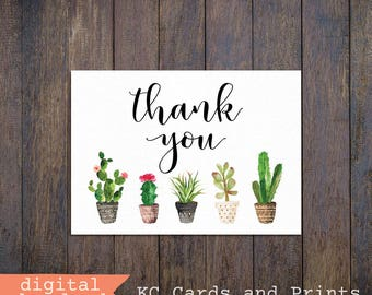 Cactus Thank You Card, 5x7 and 4x6, Printable, Cactus Card, Instant Download