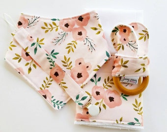 Bandana Bib, Natural Teething Ring with Bunny Ears, Pacifier Clip and Burp Cloth in Sweet Pink Peonies. Baby girl gift set. Baby Girl Bib