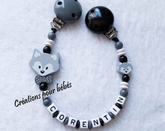 "Attach toy boy personalized wood beads and ""Fox"""