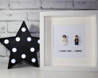 I LOVE YOU I KNOW - Framed Princess Leia and Han Solo Lego minifigures