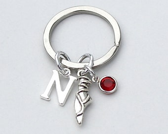 Dancer Keyring, Dance Keychain, Personalized Keyring, Initial Keychain, Birthstone Keychain, Dance Teacher Gift, Gift, AAA Quality , K87
