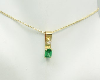 PENDANT 14K Yellow Gold, Mt. St. Helen's Retcangle Gemstone 1.5 CT. with Cubic Zironia Accent, Emerald Colored Pendant, PEN14KMSHRECTCZ