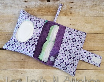 Diaper clutch, small diaper bag, diaper and wipes bag