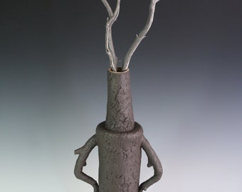 Tree sculpture. Tall black vase, tree with arms, Ent ceramic sculpture. Large statement vase, original art by Chelsea Mae