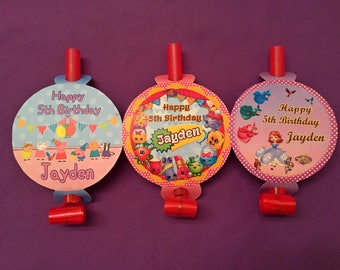 12 Personalized Party Blowouts, Party Blowers, Party Favors - Shopkins, Peppa Pig, Sofia the First