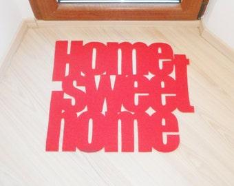 Home sweet home front door decor. Welcome mat. Unique home decor
