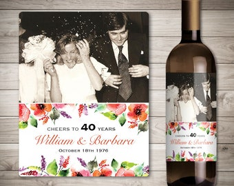 Wedding Anniversary Wine Labels - Personalized Photo Anniversary Wine Label - Custom Wedding Anniversary Wine Label