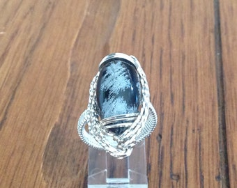 Handcrafted Wire Wrapped Sculptured Ring with Snowflake Obsidian Stone size 8