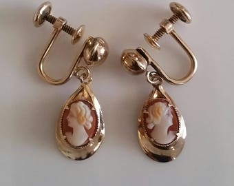 Bal-Ron Small Cameo Earrings, Screwbacks   1/20  12 K Gold filled, 1940's