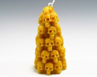 Beeswax Skull Candle Stack of Skulls Day of the Dead Candle Human Skull Candle Halloween Candle Home Decor Unique Candle Witchcraft Occult