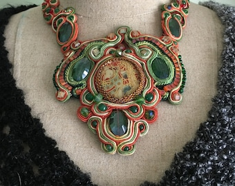Soutache Necklace, Orange and Green, Statement Necklace, Boho, Elegant, Unique Art Jewelry, Soutache Jewelry