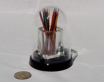 vintage glass toothpick holder with dome top