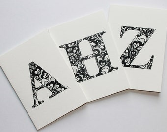 Initial cards, letter cards, personalized card, Happy Birthday card