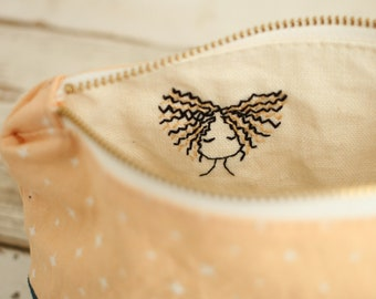 """Zippered Bag/Pouch/Mother's Day Gift - Hand Embroidered Canvas (blue/peach) pencil case/project bag/storage/9"""""""