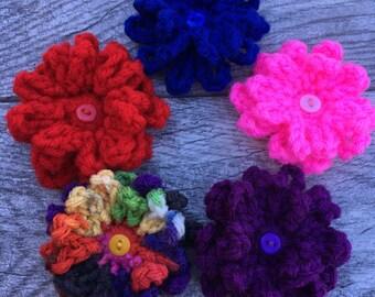 Crochet Flower Barrette Set