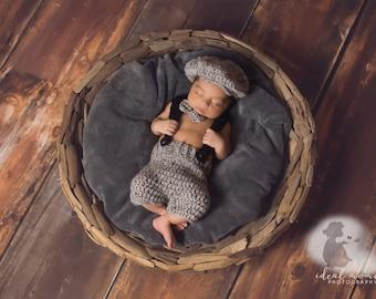 Little  Man Suit Prop/ Newsboy Prop/ Baby Shower Gift/ Vintage Inspired Newborn Prop/ Baby Boy Photo Prop/ 1920s inspired