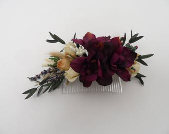 Flower Comb, wedding comb, silk flower,