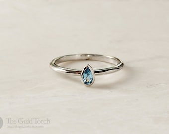 Gift for Mom, Swiss Blue Topaz Gold or Platinum 1.6mm Stackable Ring (Choice of Stones)