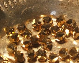 Vintage glass BEADS 1940s 24kt gold aurum antique AUSTRIAN crystal 9mm