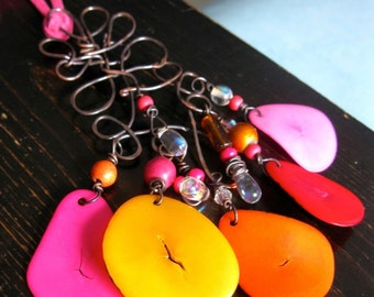 Tagua Nut Slices. Wire Scroll Necklace. RHEA. Pink and Orange. Large Chandelier Pendant Necklace. oxidized copper