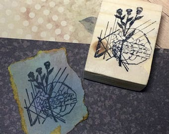 Flora II - F6 Wood Mounted Rubber Stamp