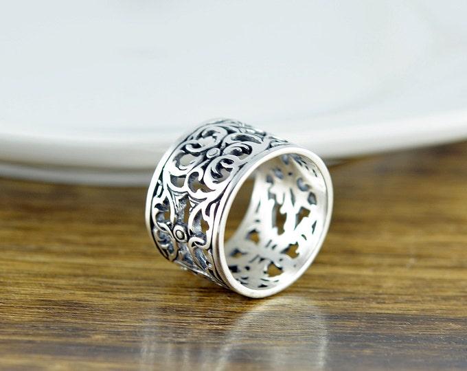 "Sterling Silver ""Guinevere"" Filigree Ring - Cigar Band Ring - Boho Ring - Modern Ring - Womens Rings - Gift For Her - Statement Ring"