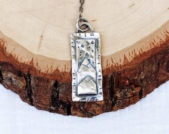 Double Mountain Frame Necklace, .925 Silver