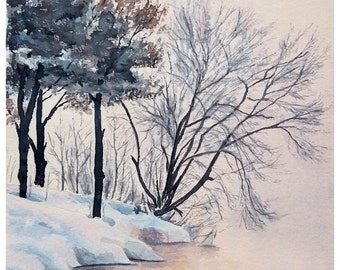 Original watercolor painting, a winter landscape, sunset, reflections, snow.