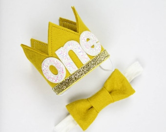 Wild ONE Birthday Crown | First Birthday Crown of Felt | Where the Wild Things Are Outfit for Cake Smash | Mustard Gold White