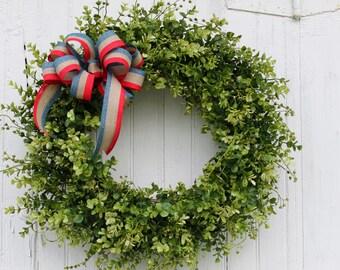 Patriotic Wreath, 4th of July Wreath, Boxwood Wreath, Front Door Wreath, Americana Wreath, Red White and Blue Wreath, Summer Wreath, Wreaths