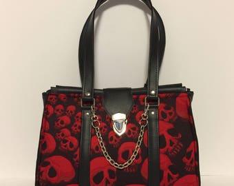 The Ripper: skull handbag, gothic doctor style handbag, gothic purse, goth, skull purse