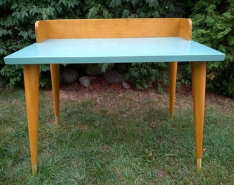 Mid Century Modern Solid Wood Writing Desk ~ Turquoise Finish with Tapered Legs