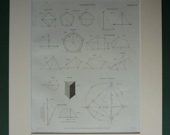 1814 Antique Geometry Print from Rees' Cyclopaedia Georgian mathematics decor mathematical technical diagram Old Math Gift for Mathematician