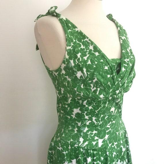 1950s dress, cotton dress, leaf print, grass green, flared skirt, 50s dress, UK 10, handmade full skirt, damage