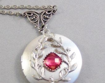 Ruby Spirit,Ruby Necklace,Ruby,Ruby Locket,Silver Locket,Ruby Stone,Rhinestone,Vintage,Red Stone,Ruby Birthstone,Red Stone,Red