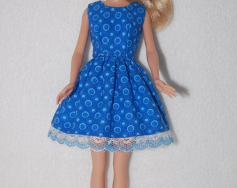 "Barbie doll dress  Blue with lace hem  A4B045 11.5"" fashion doll clothes"
