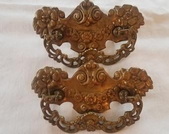 2 Antique Metal Drawer Pulls