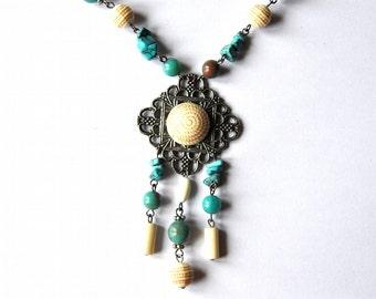 Vintage Turquoise Pendant Necklace - Blue & Ivory Stone Beaded Necklace, Ethnic Jewelry, Boho Necklace
