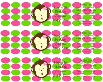 Pink and Green Moneky Water Bottle Wrappers-DIGITAL-check out the matching items in my shop