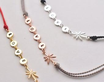 Love weed silk cord bracelet - adjustable  love bracelet  - disc bracelet - silk pot bracelet - mini leaf- rose gold - gold - silver