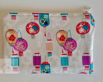 """7"""" Make Up Bag  - Chinese Lanterns     -  Gift for Her, Gift for Wife, Gift for Women , Gift for Mum"""