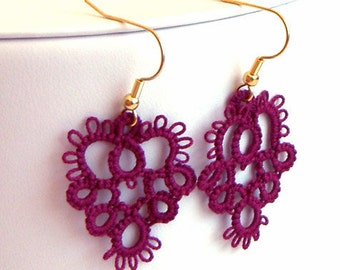 Tatted Lace Earrings - Tatted Earrings - Lace Earrings - Your Color Choice - Made to Order