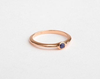Blue Sapphire Engagement Ring, Small Saphire Ring, 18k Rose Gold Sapphire Ring, Stacking Ring 14k Rose Gold Band Thin Sapphire
