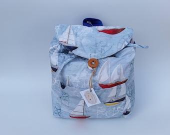 Backpack,Backpack with boats, fabric backpack, children backpack, school backpack,handmade backpack, backpack with boats, sailing boats