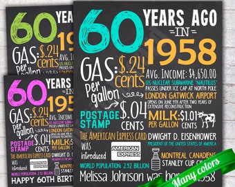 60th Birthday Chalkboard Sign Poster Personalized Birthday Poster Sign Printable / 60 years ago Back in 1958 USA Events  / Gift - P418