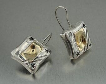 Duerry's  Handmade 9k Yellow Gold 925 Sterling Silver Earrings (H)